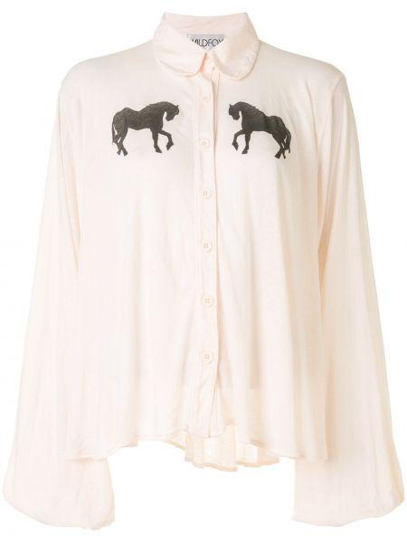 Белая блузка с воротником с манжетами Wildfox
