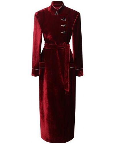 Бархатное красное пальто с воротником с подкладкой Giorgio Armani