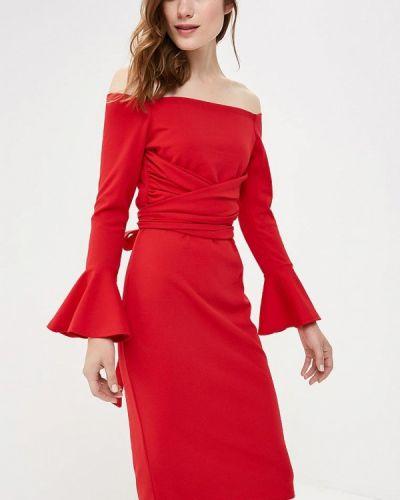 Красное платье с открытыми плечами Lost Ink.