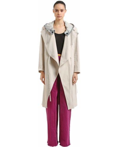 Beżowy płaszcz z kapturem kopertowy Aalto