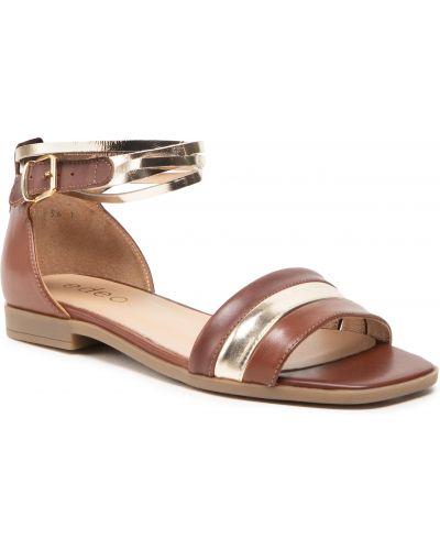 Brązowe złote sandały Edeo
