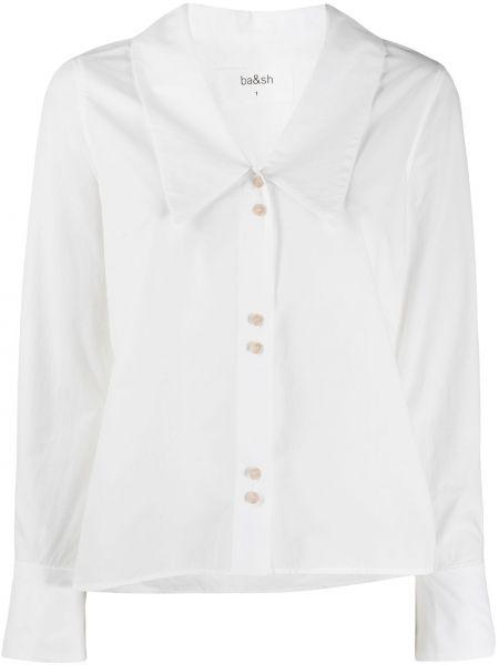 Белая прямая рубашка с воротником с длинными рукавами Ba&sh