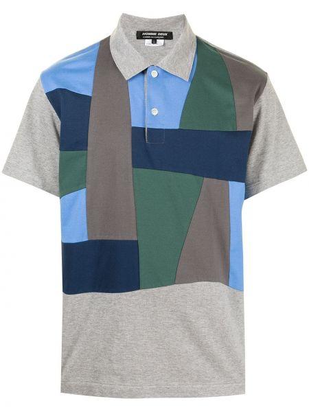 Prążkowana koszula bawełniana krótki rękaw Comme Des Garcons Homme Deux