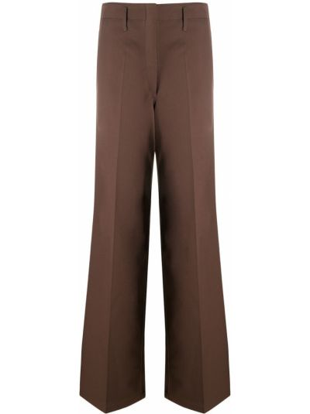 Spodni brązowy wełniany spodnie o prostym kroju z paskiem Lemaire
