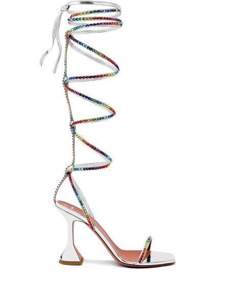 Серебряные кожаные сандалии Amina Muaddi