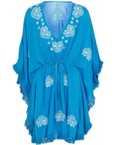 Niebieski kaftan z haftem Melissa Odabash
