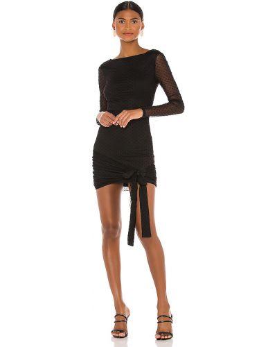 Czarny włókienniczy sukienka mini prążkowany z siatką Majorelle