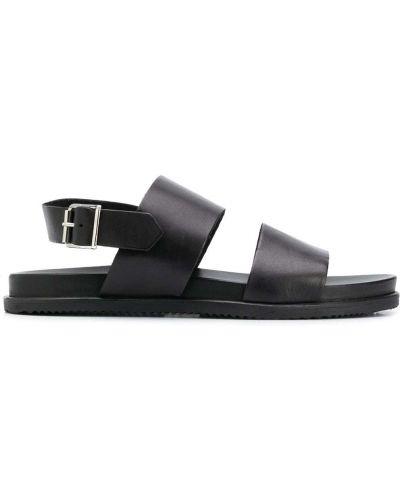 Z paskiem czarny skórzany sandały z klamrą Scarosso