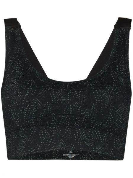 Czarny biustonosz sportowy z printem z nylonu Varley