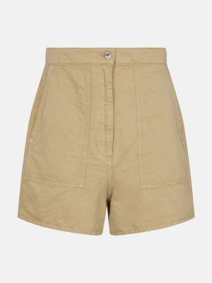Ватные бежевые льняные шорты Loewe