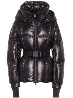 Черная пуховая дутая куртка с декоративной отделкой Moncler Grenoble
