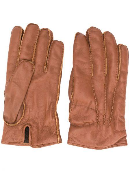 Brązowy kaszmir skórzany rękawiczki prążkowany za pełne Ermenegildo Zegna