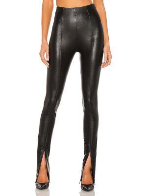 Jedwab czarny klasyczne spodnie z mankietami z zamkiem błyskawicznym Amanda Uprichard
