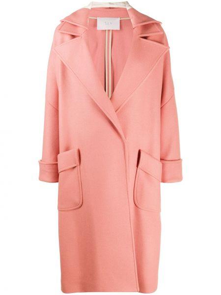 Розовое шерстяное длинное пальто с накладными карманами свободного кроя Tela