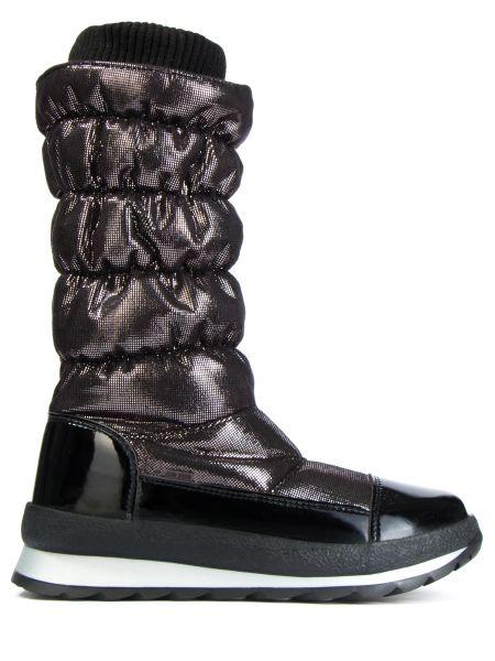 Комбинированные текстильные черные сапоги с декоративной отделкой Jog Dog