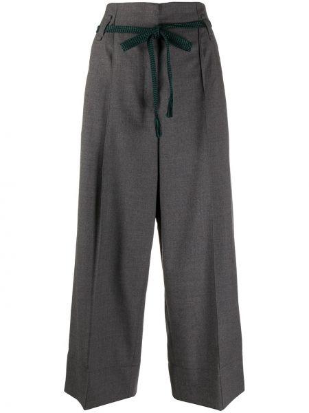 Шерстяные серые плиссированные укороченные брюки с поясом Odeeh