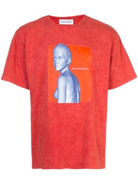 Pomarańczowy t-shirt bawełniany z printem Rochambeau