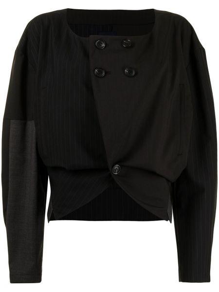 Черная длинная куртка двубортная с нашивками Yohji Yamamoto