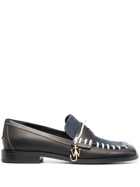 Skórzany czarny loafers na pięcie kwadratowy Jw Anderson
