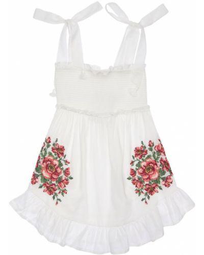 Biała sukienka z haftem bawełniana Zimmermann