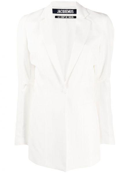 Однобортный белый пиджак с карманами Jacquemus