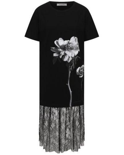 Хлопковое белое платье с декоративной отделкой Valentino