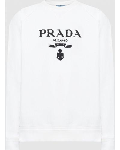 Белая кофта с принтом Prada