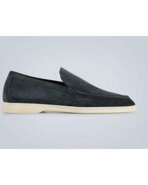 Синие кожаные мягкие классические классические туфли Loro Piana