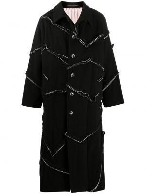 Шерстяное черное пальто классическое с воротником Yohji Yamamoto