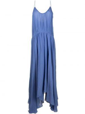 Хлопковое с ремешком синее платье макси Bambah