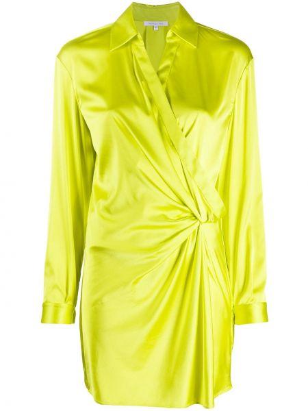 Желтое платье с запахом с драпировкой на пуговицах Patrizia Pepe