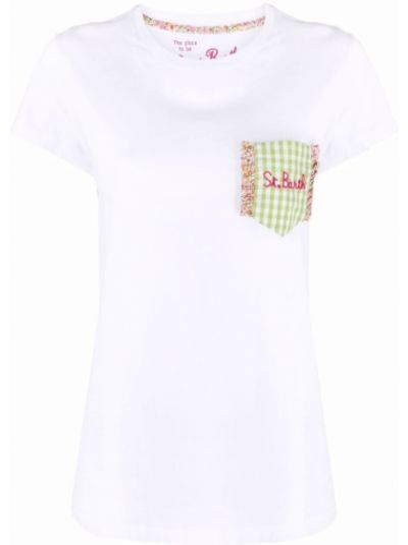 Прямая белая футболка с вырезом Mc2 Saint Barth