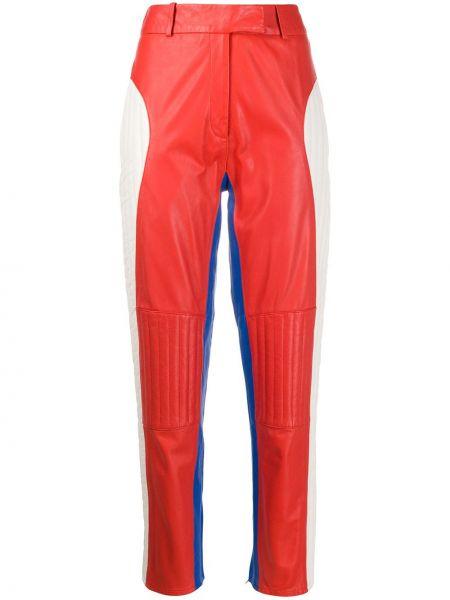 Кожаные красные брюки с карманами узкого кроя Frenken
