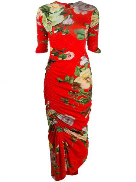 Платье мини макси с цветочным принтом Preen By Thornton Bregazzi