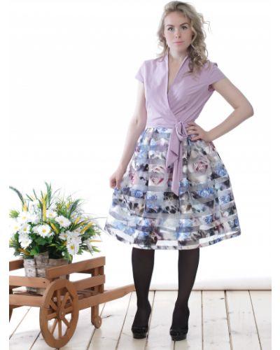 Платье с поясом из органзы фиолетовый Lacywear
