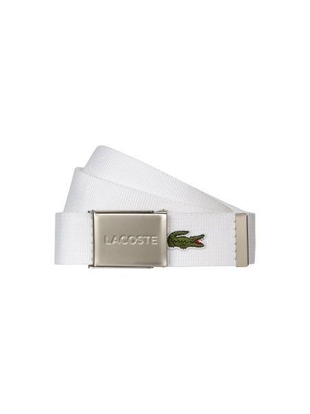 Biały pasek klamry materiałowy Lacoste