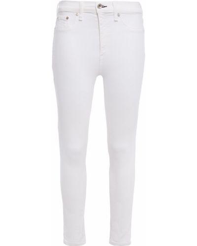 Białe jeansy rurki z paskiem bawełniane Rag & Bone