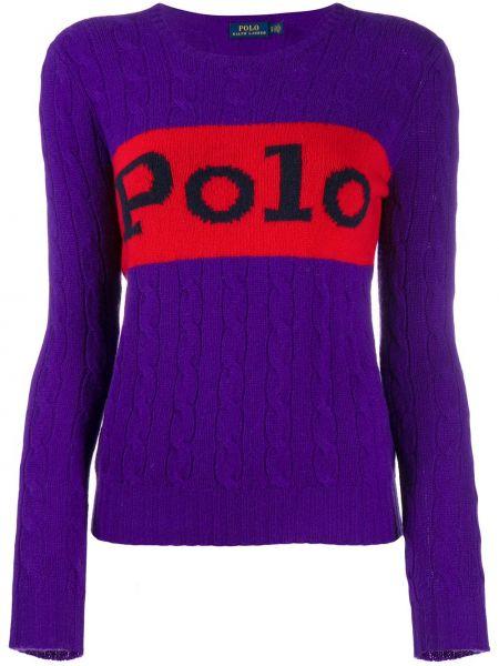 Fioletowe polo z długimi rękawami wełniane Polo Ralph Lauren
