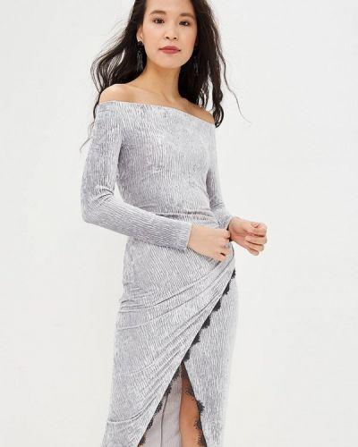 Вечернее платье серое осеннее Ruxara