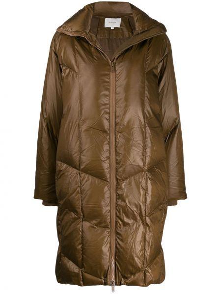Пальто с капюшоном длинное стеганое Vince.