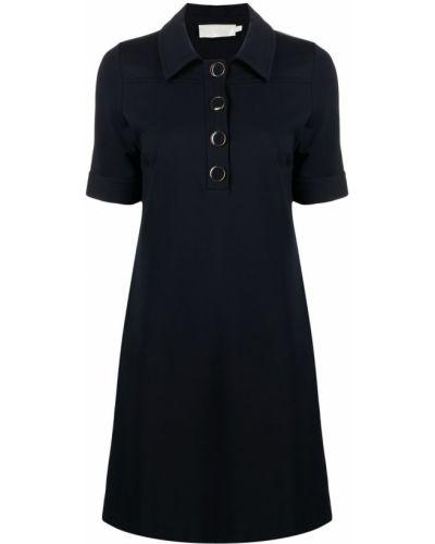Синее платье мини с короткими рукавами с воротником Goat