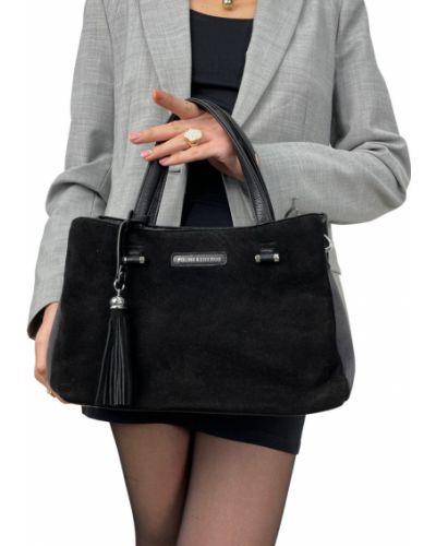 Замшевая сумка через плечо - черная Polina & Eiterou