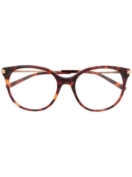 Золотистые прямые очки кошачий глаз металлические хаки Boucheron Eyewear