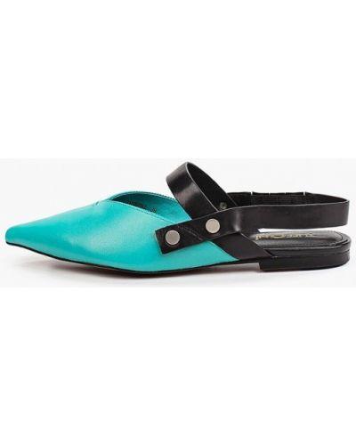 Бирюзовые кожаные туфли с открытой пяткой Tuffoni