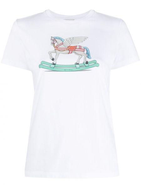 Трикотажная белая футболка с вырезом Etro