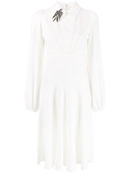 Классическое плиссированное платье миди со складками с воротником N21