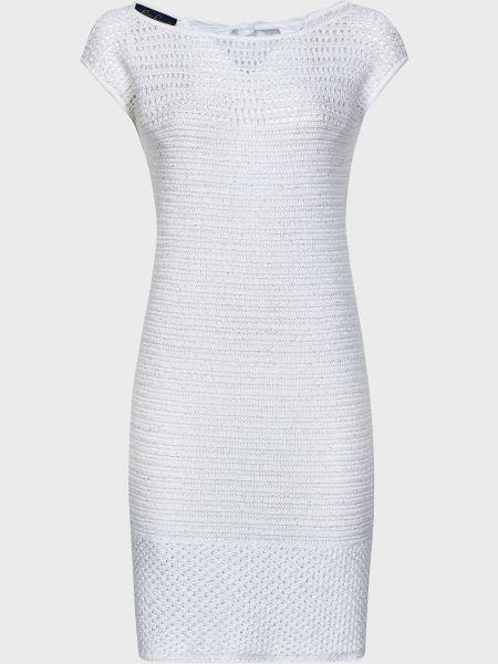 Хлопковое белое платье с пайетками Luisa Spagnoli