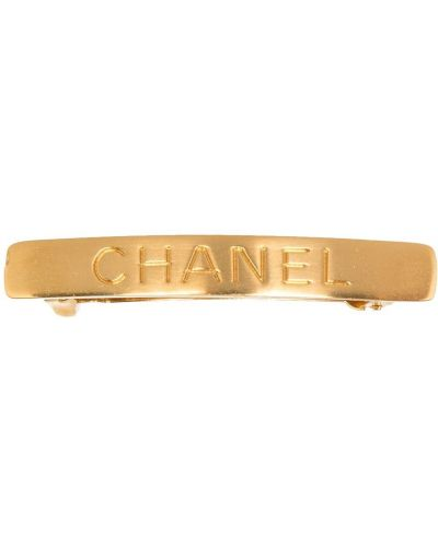Золотистая желтая заколка металлическая Chanel Pre-owned