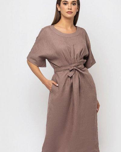 Коричневое прямое платье Morandi