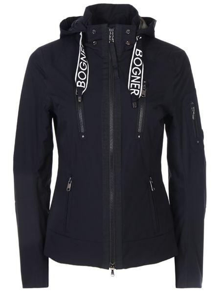 Приталенная черная куртка с капюшоном на молнии с воротником Bogner